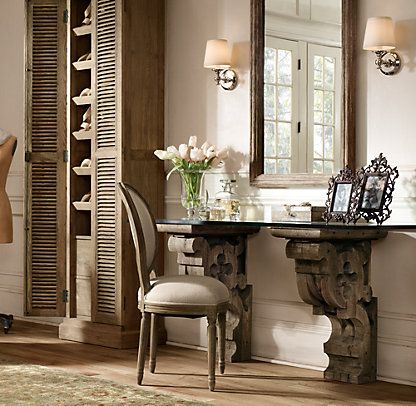 Corbel Desk  Restoration Hardware  Rustic Elegance Home. Shuffleboard Table Length. Stacking Drawer Storage. L Desk Hutch. Walmart Desks And Chairs. Entry Level Help Desk Cover Letter. White Desk Canada. Disney Animation Desk. Raised Desk Platform