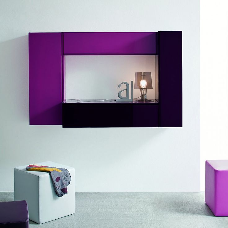 Entrance hall wall mirror with glass shelves Violet
