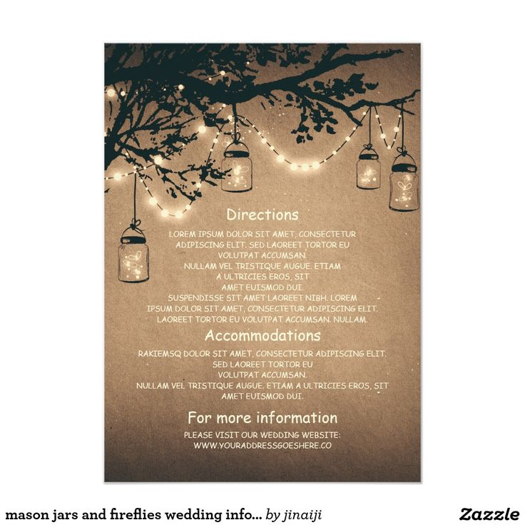 wedding card invitation cards online%0A mason jars fireflies wedding information insert card Wedding directions   accommodations and information cards   Guest Information card   Wedding  Details