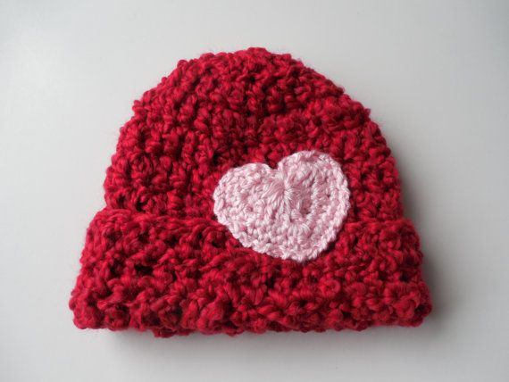 Red Baby Beanie with heart  Crochet by ShelleysCrochetOle on Etsy, $12.00