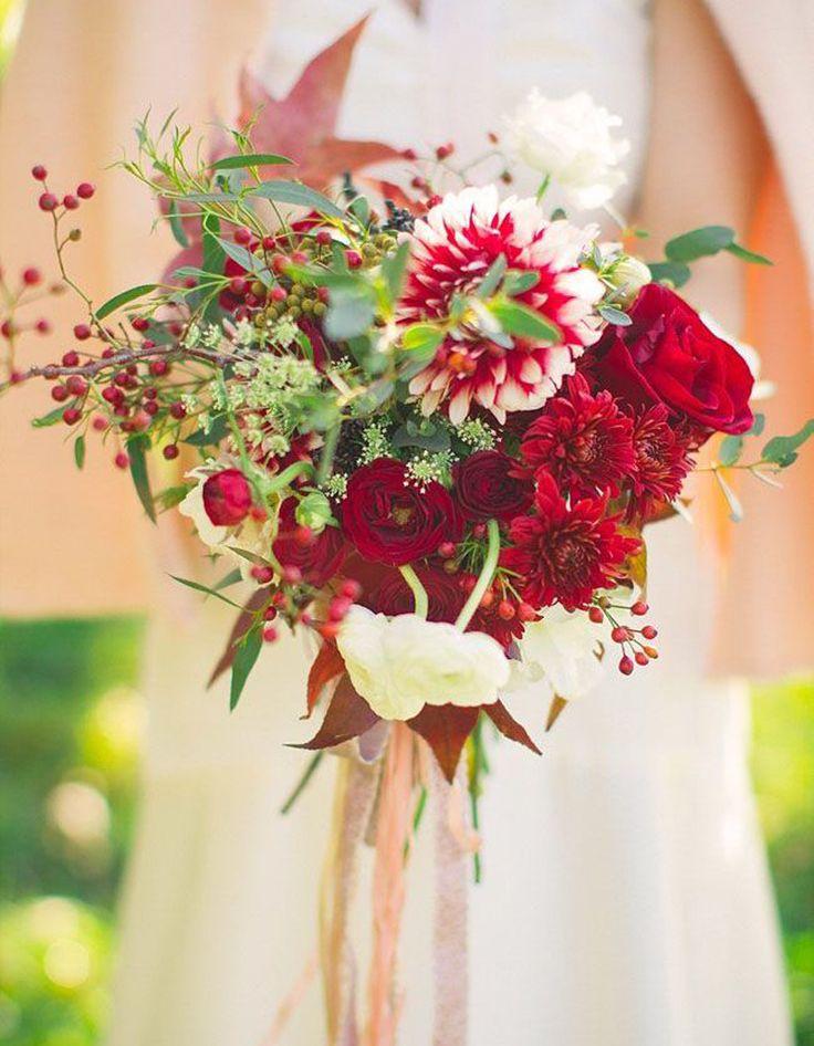 Bouquet de mariée rouge et blanc - 20 beaux bouquets de mariée pour égayer votre robe - Elle