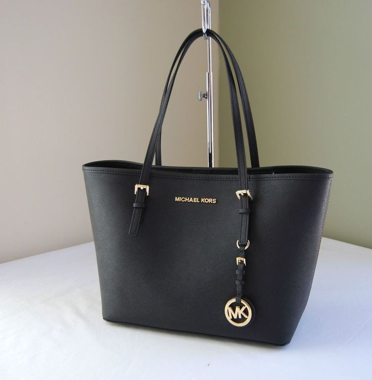 Michael Kors Jet Set Travel Saffiano Leather Small Tote Black gwe