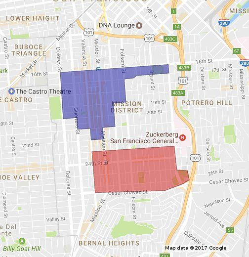 Approximate gang boundaries in San Francisco's Mission District, according to the San Francisco Police Department.