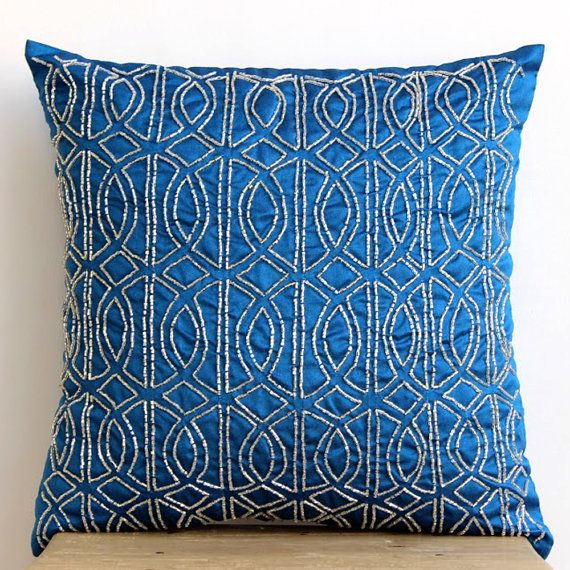 Decorative Throw Pillow Covers Accent Pillow Couch Toss 20x20 Pillow Cover Silk Embroidered Geometric Royal Blue Bedroom Home Decor Bedding