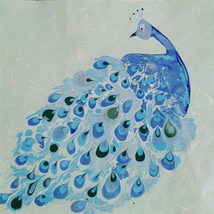ebru sanatı ( marbling art ) by mai hatti peacocks# tavuskuşu