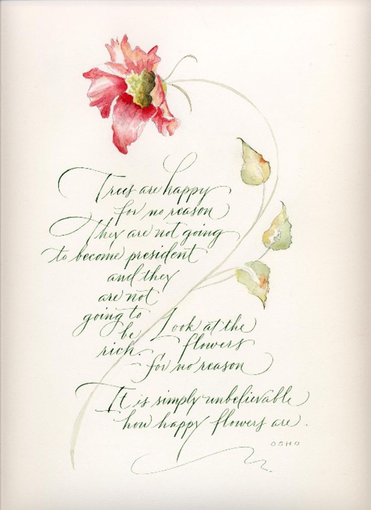 Pat Blair ~ calligraphy } I love when they draw what they pin! Poem of trees & flowers