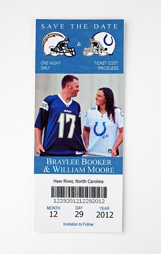 Chargers + Cowboys - Wedding Save the Date Ticket baseball tickets tho