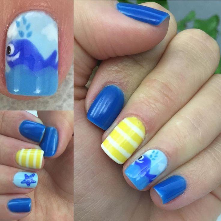 Walnägel. Sommernägel. Gelbe und blaue Nägel. Nagel Kunst. Artist petit. Nagel für … – #ar … – Summer Nail Ideen – #Artist #blaue #für #Gel…