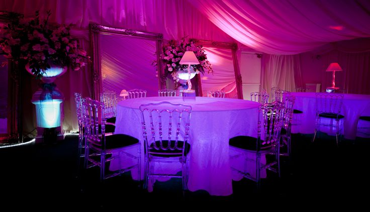 Add supernatural glow to your dining with our LED Opulent Ice Tables! Ice Napoleon Chairs with black seat pads are the perfect combo.