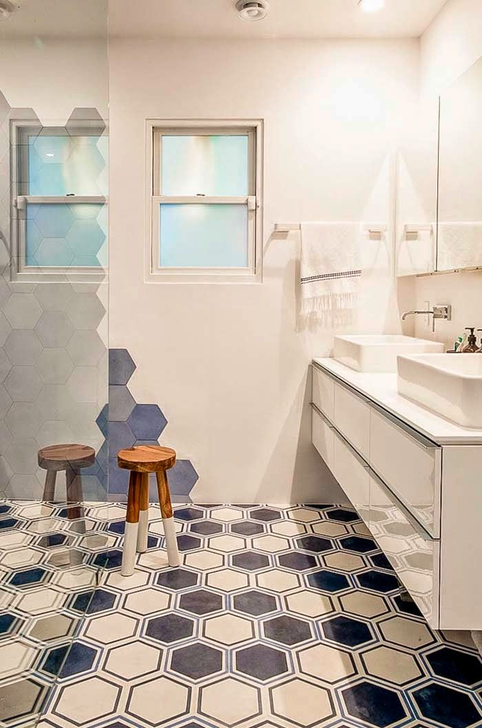 one-of-a-kind bathroom with paintwork mimicking the floor tile design.