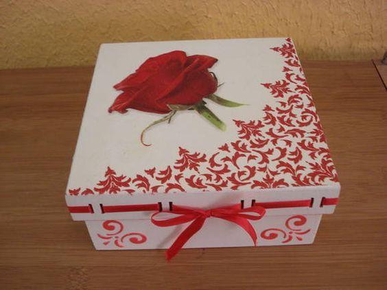 Decoupage box with stencil
