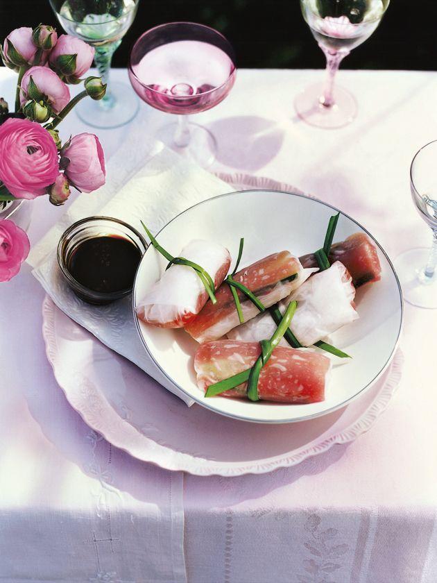 Fresh Tuna Mint And Cuber Rice Paper Rolls
