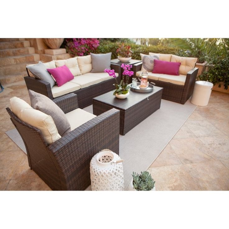 Outdoor Thy-Hom Rio Wicker All-Weather 5 Piece Patio Conversation Set with Storage - BAS2613DBBG