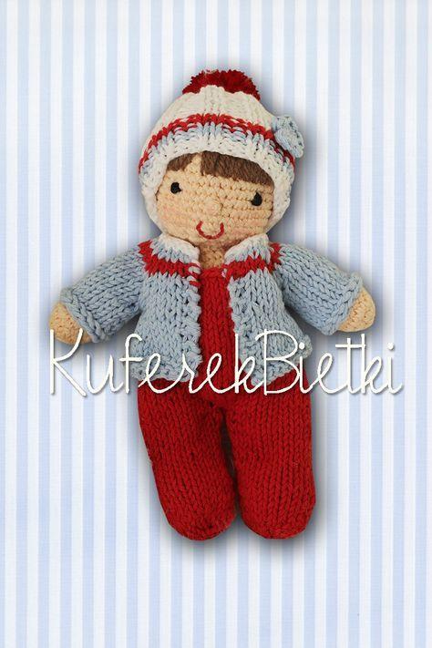 Niemowlaczek - lalka wykonana na szydełku. Lalka ubrana jest w sweterek, śpioszki i czapeczkę, które można zdejmować.   Wielkość:około ...