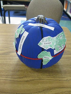 We did this (autism 4-6 classroom) - we painted everything white and then masked the continent areas to paint the blue. Pulled the paper off, then labeled everything. Tip: get taller rather than fatter pumpkins. We ended up with HUGE oceans. NOTE: We also did followup activities with the seeds and cooking the pumpkin.