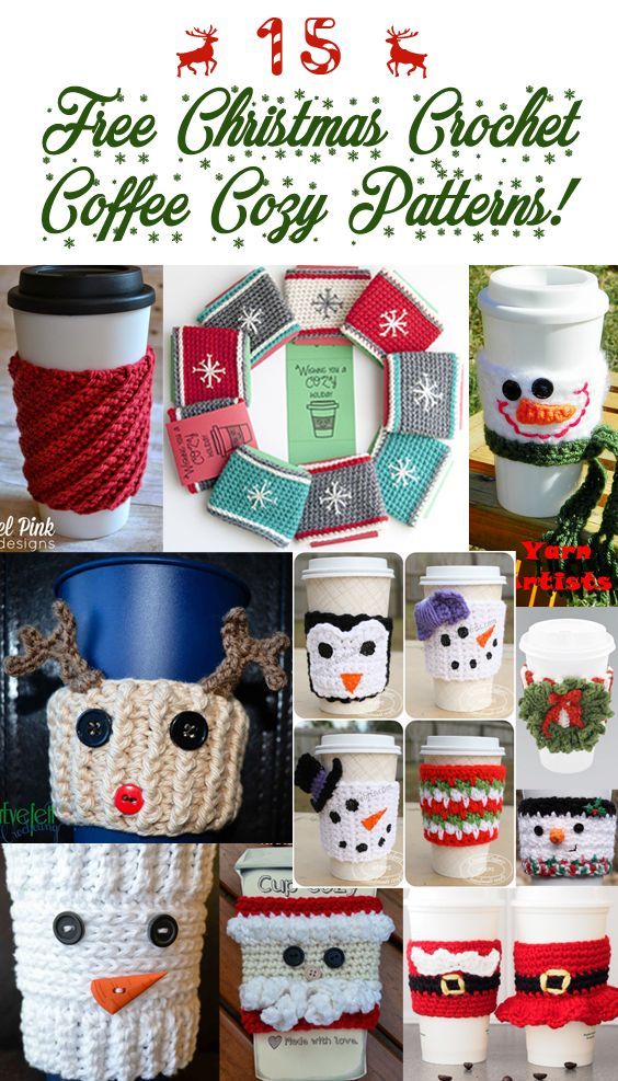 Christmas crochet coffee cozy pattern round up. All free paterns!