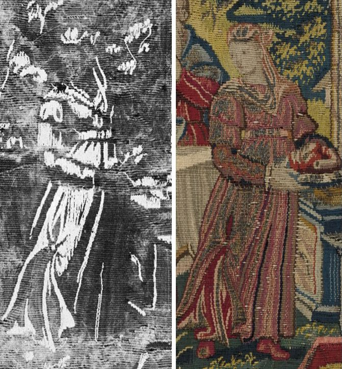"""The X-ray image reveals the concentration of metal threads in the figure of Sarah. X-ray image by Cristina Balloffet Carr. """"Abraham Entertaining the Angels"""" from Scenes from the Lives of Abraham and Isaac Date: ca. 1600 Culture: Flemish Medium: Wool, silk, silver-gilt thread (21 warps per inch, 9 per cm.) Dimensions: H. 19 3/4 x W. 20 inches (50.2 x 50.8 cm) Classification: Textiles-Tapestries Credit Line: Gift of George Blumenthal, 1941 Accession Number: 41.100.57e"""