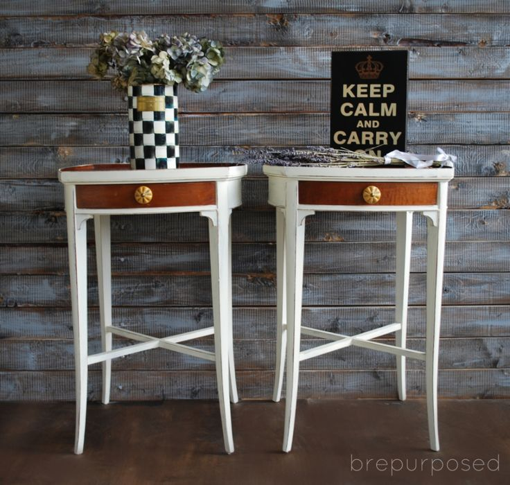 Two Toned Night Stands   brepurposed    So nice and similar to what I'm trying to do with my mother's old matching tables from 1958-1960.