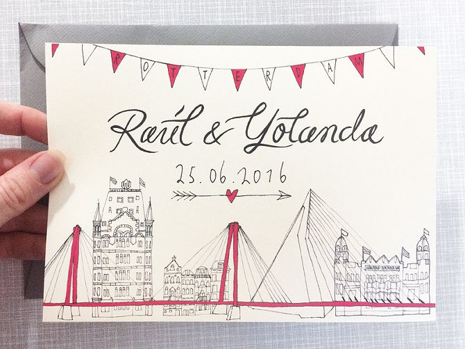 Wedding invitation / front side / made by Marianne Lock / www.maryandthelocks.nl