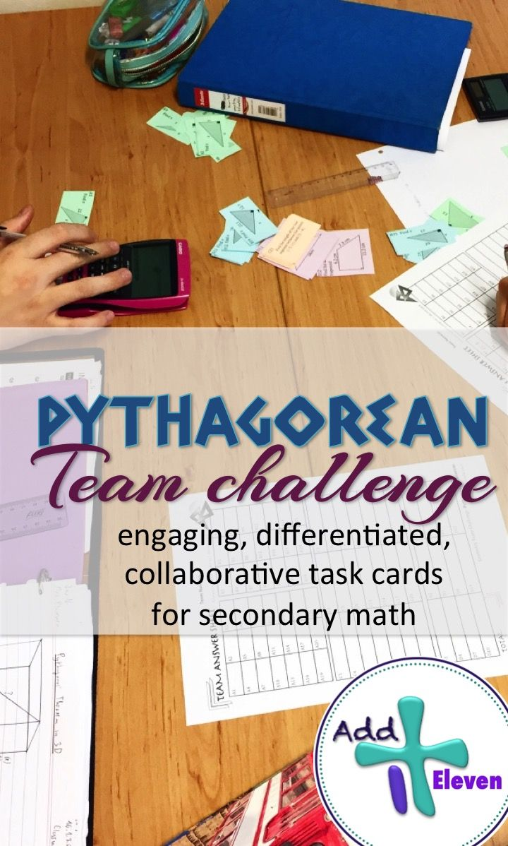 Team Challenge task cards on the Pythagorean Theorem