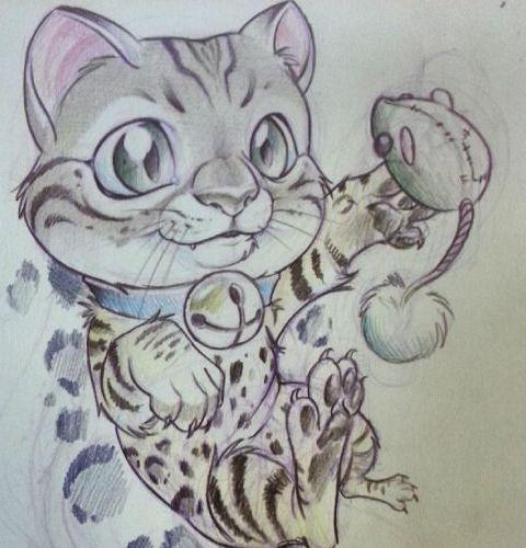 Эскиз тату с маленьким пятнистым котенком