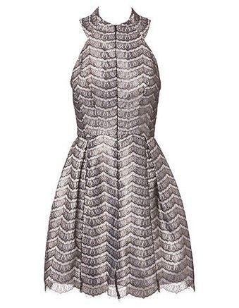 Nicola Finetti - Scallop Lace Zip Front Lace Dress