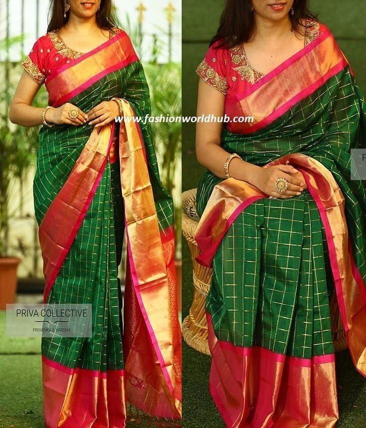 "05569418c42c1d STUDIO SHRESHTA WOMEN FASHION on Instagram  ""Uppada kuppadam silk sarees  with rich tissue zari border Price   5400 - Free shipping within India  Blouse in ..."