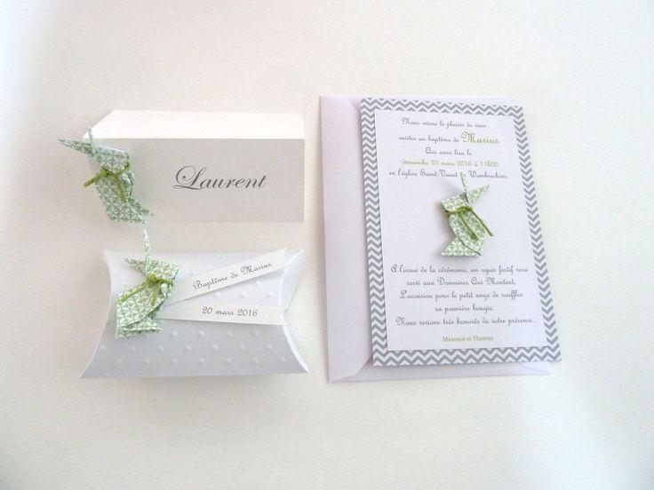 Faire part de baptême ou naissance lapin en origami - vert : Faire-part par papierelief