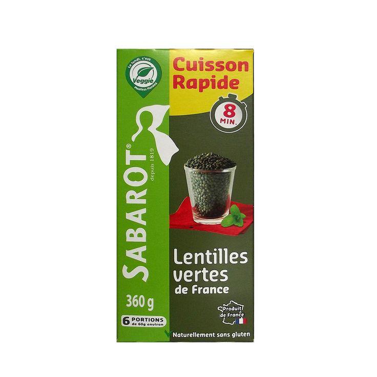 """Lentilles vertes """"Cuisson rapide"""" 360g Sabarot"""