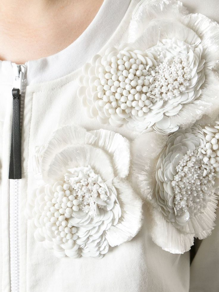 Textured white flower applique top with beaded embellishment; sewing idea; textiles; fashion design detail // Marni