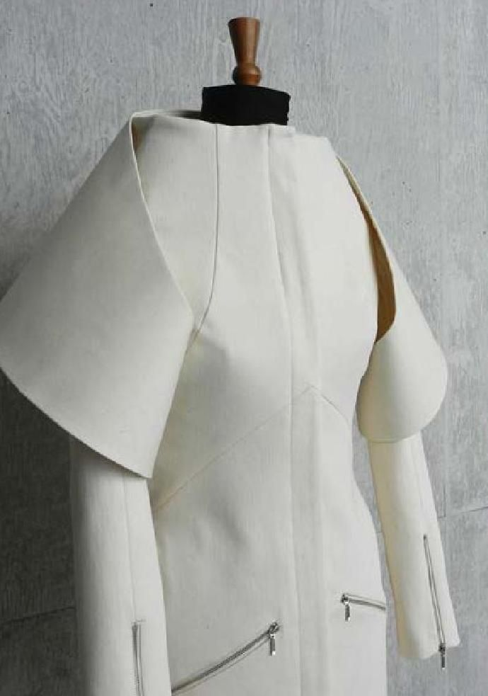 Innovative Pattern Cutting - sculptural jacket design based on Emilio de la Morena A/W 2009; fashion design; creative sewing