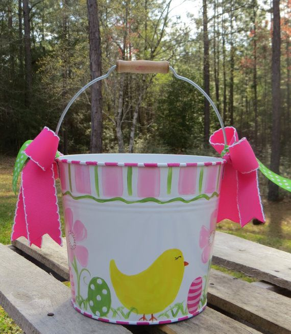 24 best painted buckets images on pinterest bucket gift girls easter basket easter bucket pail by swankybabyboutique negle Gallery