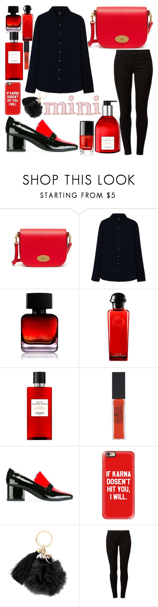 """""""mini handbag"""" by chantal-07 ❤ liked on Polyvore featuring Mulberry, Uniqlo, The Collection by Phuong Dang, Hermès, Maybelline, Dorateymur, Casetify, Dorothy Perkins, black and red"""