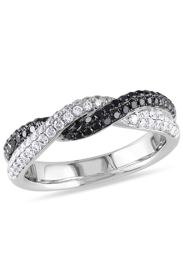 0.75 CT Black & White Diamond Ring In 14k White Gold - Beyond the Rack