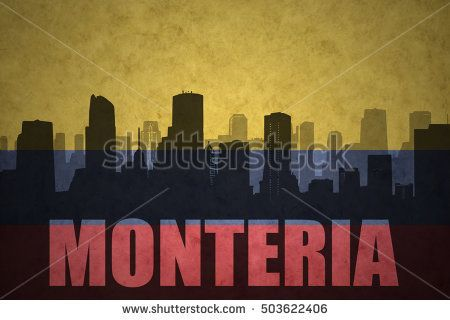 abstract silhouette of the city with text Monteria at the vintage colombian flag background