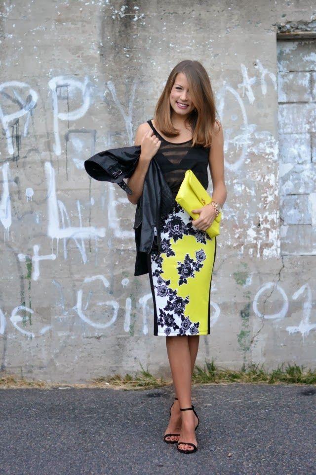 neon skirt, sheer tank, leather jacket, & zara heeled sandals.
