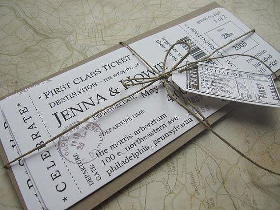 vintage boarding pass invites