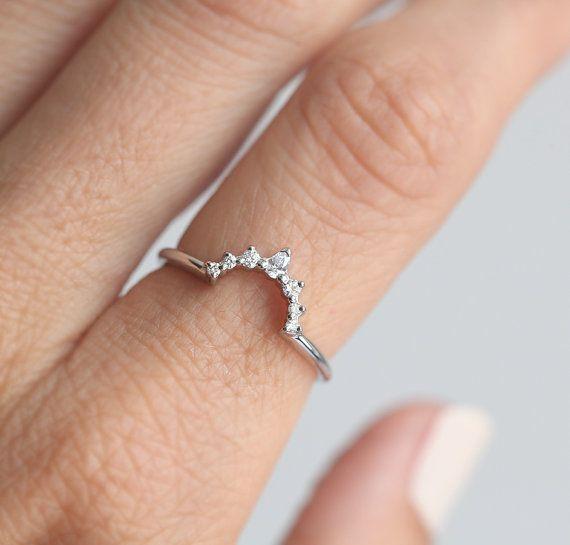 Diamante anello in oro bianco, oro bianco anello di nozze, diamante corona anello, fede nuziale di diamanti, anello di nozze di diamante, diamante corrispondenza Band