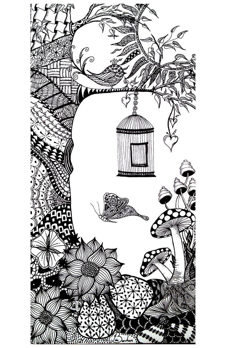 Galerie de coloriages gratuits coloriage-adulte-vegatation-papillon-oiseau.