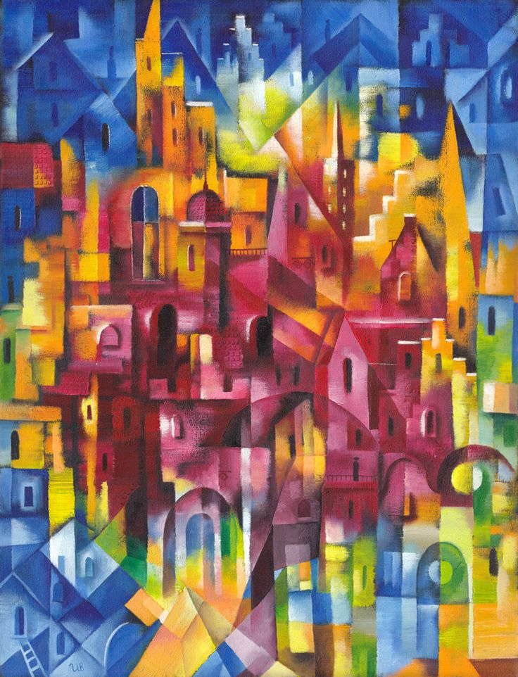 Night Life of Cites by Eugene Ivanov, 2002 #eugeneivanov #cubism #avantgarde #cubist #artwork #cubist_artwork #abstract #geometric #association #futurism #futurismo #@eugene_1_ivanov