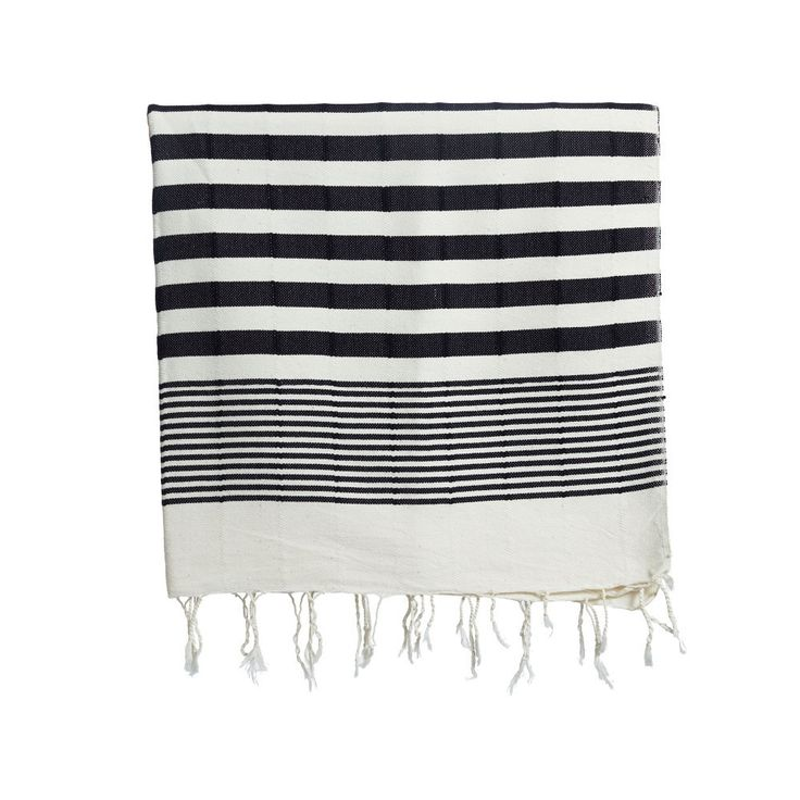 Black Striped Turkish Beach Towel