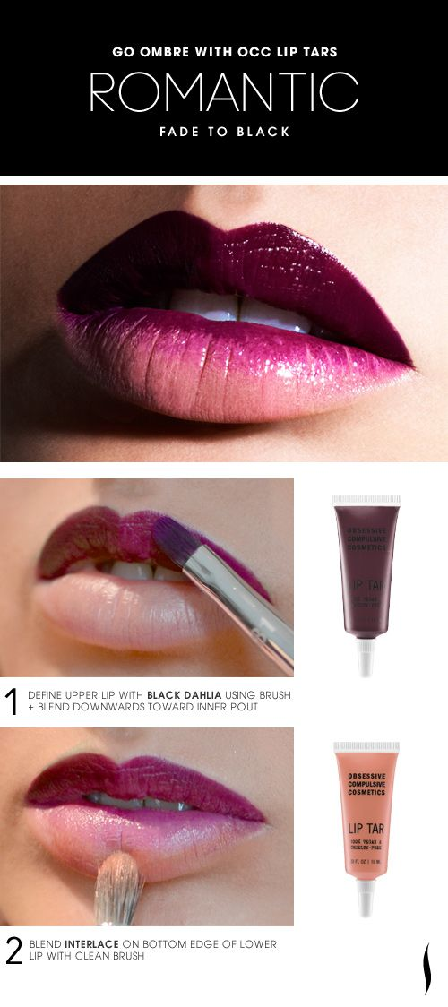Lip Tars create new shades and ombre effects. Here's the Romantic Fade to Black Lip HOW TO.