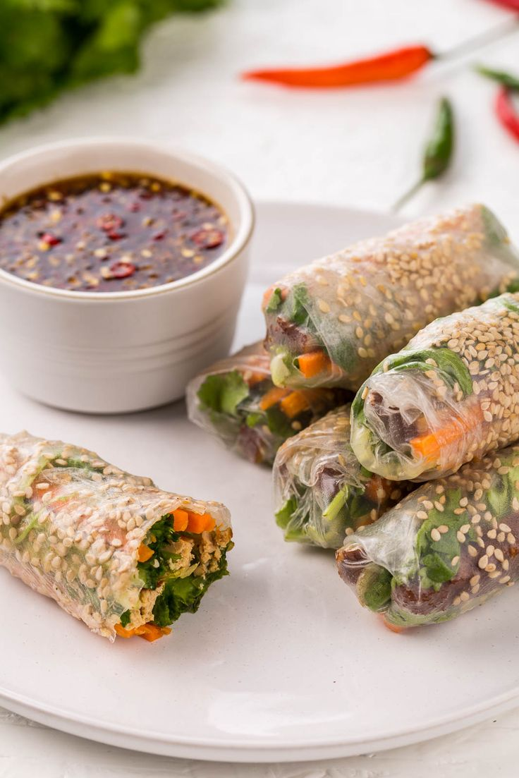 Vietnamese spring rolls with a vegetarian twist, featuring smoked tofu to make…