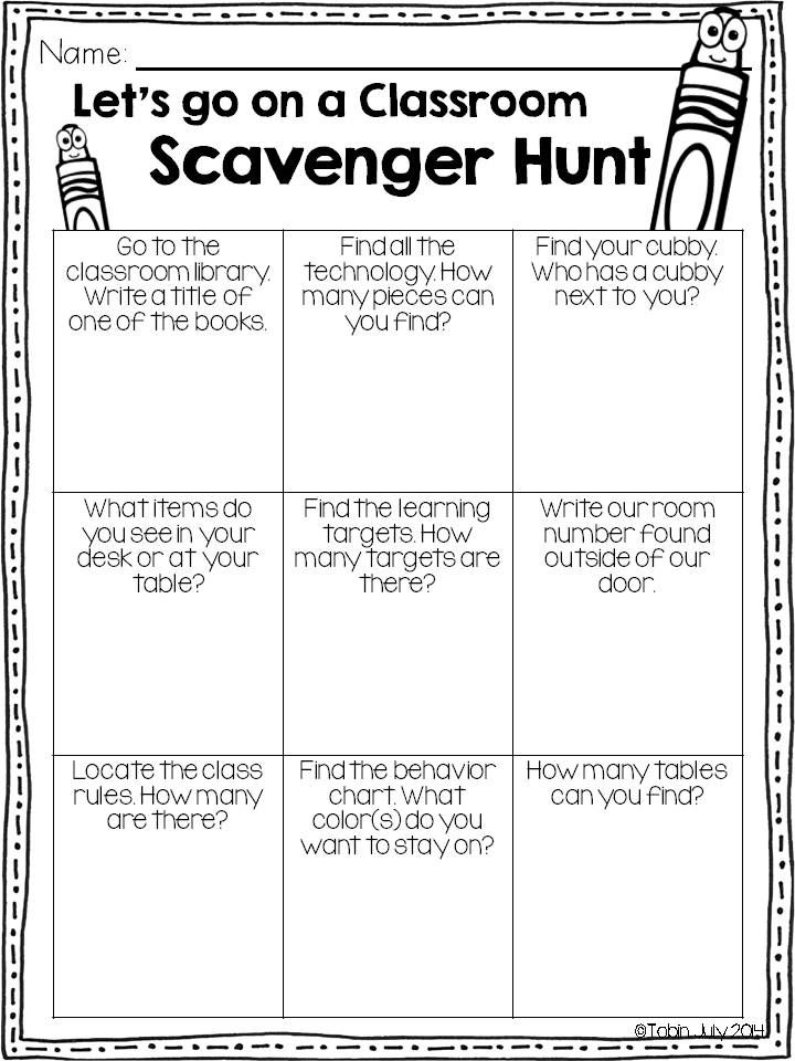 back to school- scavenger hunt