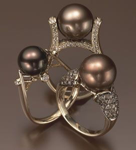 18k gold, chocolate pearl, and diamond ring and 14k gold, diamond, and chocolate pearl ring