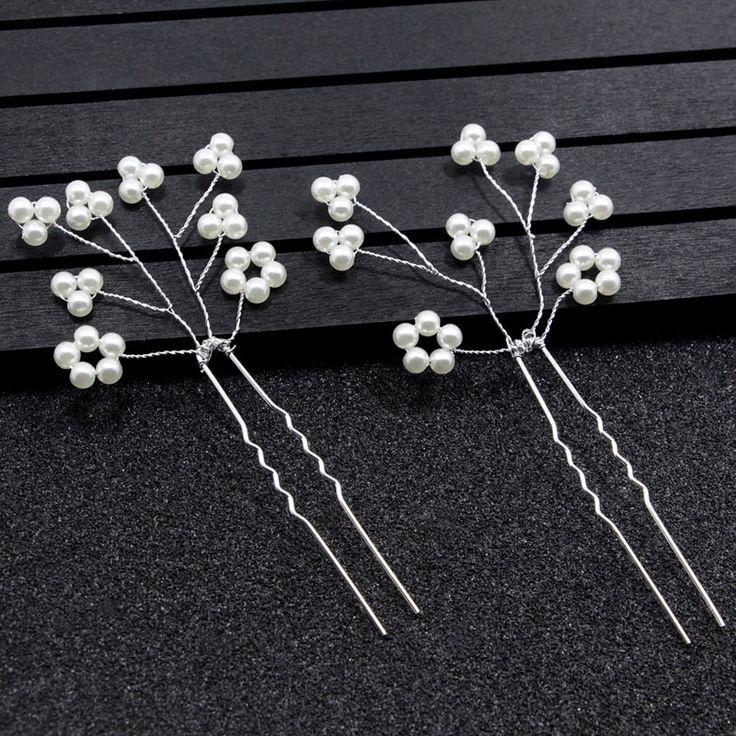 Hairpins Pearls Silver Bridal Hair Accessories Wedding Hairpins Bridal Hairpins Wedding Bridal Headpiece Hairpins