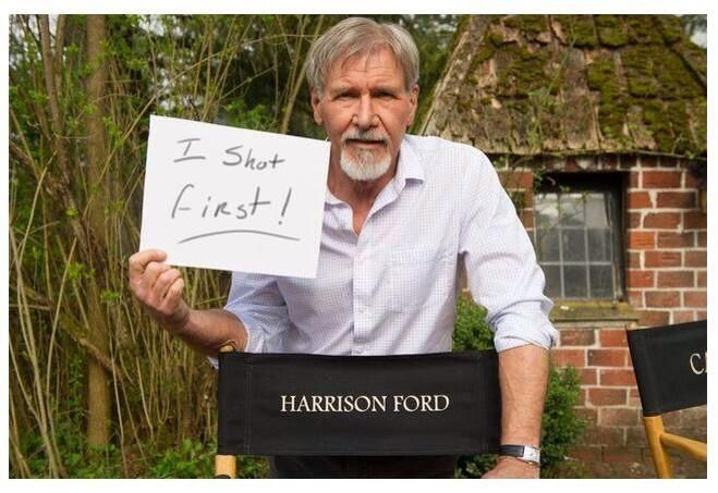 And there you have it. - Sexy Harrison Ford settles the Han Solo debate while on the set of Star Wars Episode VII.