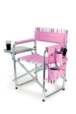 I need this!: Side Tables, Pink Stripes, Outdoor, Picnics Time, Folding Sports, Camps Chairs, Folding Chairs, Sports Chairs, Products