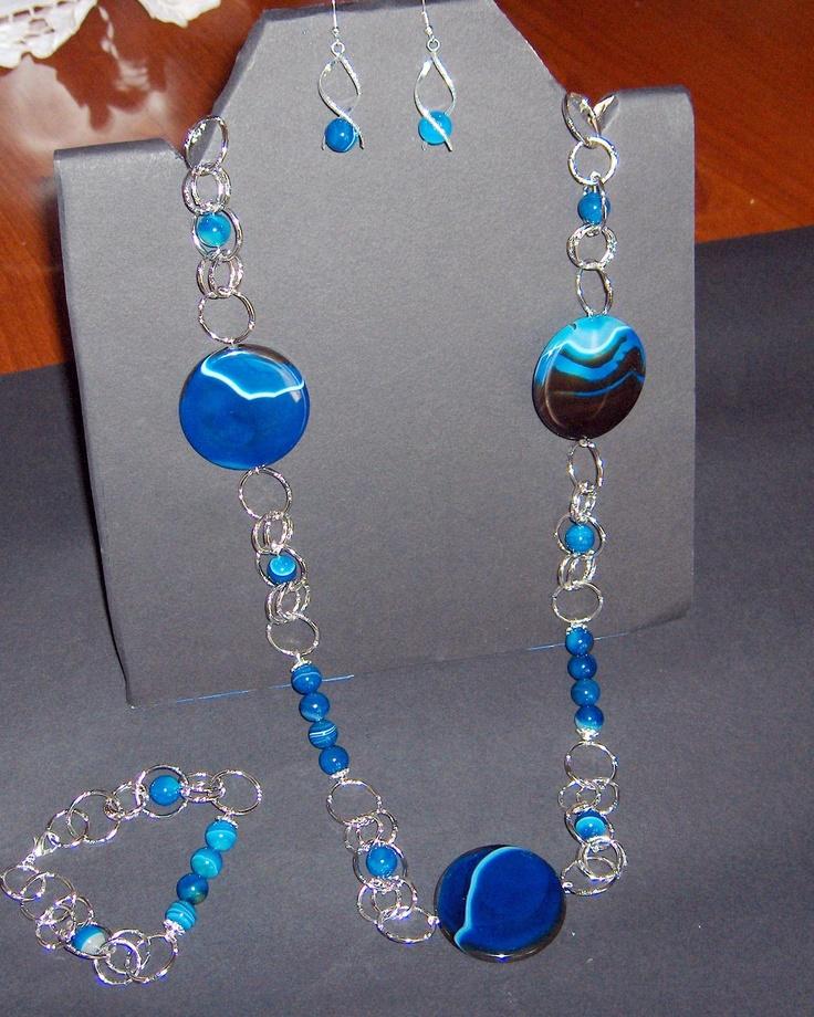 Parure in agata blu striata e alluminio