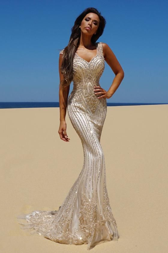 116c4f637cd Tinaholy Couture T1835 Gold Beaded Mesh Mermaid Formal Gown Dress Tinaholy  Couture One Honey Boutique AfterPay ZipPay OxiPay Sezzle Free Shipping